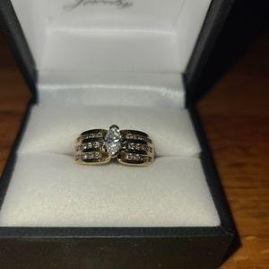 16k yellow gold marquise diamond engagement ring